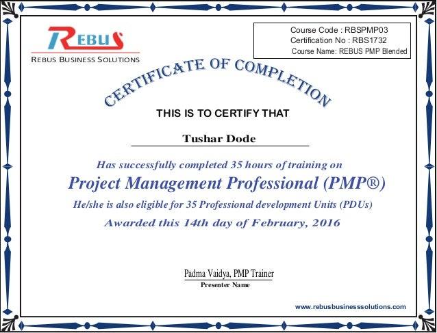 Pmp Participation Certificate Rbs1732