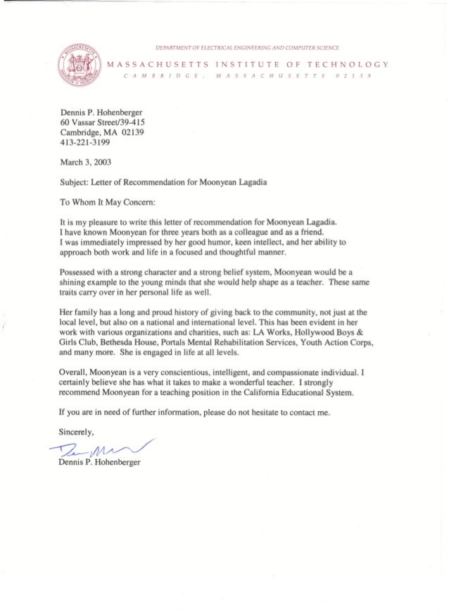 Moonyean Newman Letter Of Recommendation - Dennis P. Hohenberger, Fri…