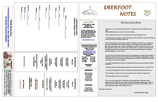 DEERFOOTDEERFOOTDEERFOOTDEERFOOT NOTESNOTESNOTESNOTES June 07, 2020 WELCOME TO THE DEERFOOT CONGREGATION We want to extend...