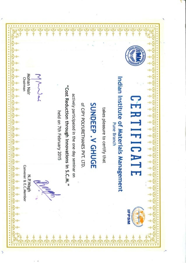 Iimm S V Ghuge Supply Chain Management Certificate