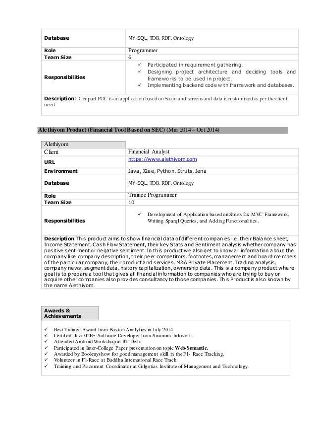 Genpact Project Description Resume