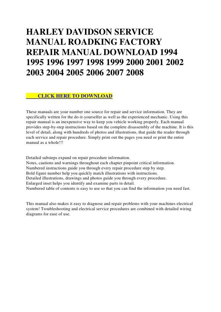 Harley Davidson Servicemanual Roadking Factoryrepair Manual Download 19941995 1996 1997 1998 1999 2000 2001 20022003 2004: 1999 Harley Davidson Road King Wiring Diagram At Satuska.co