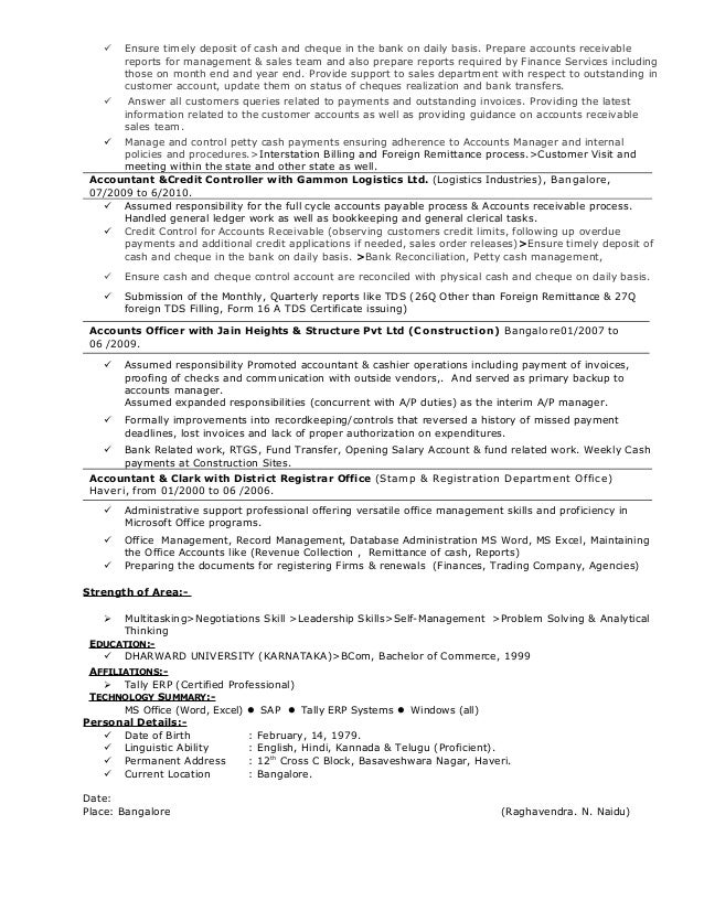 resume for senior executive for collection ar ap