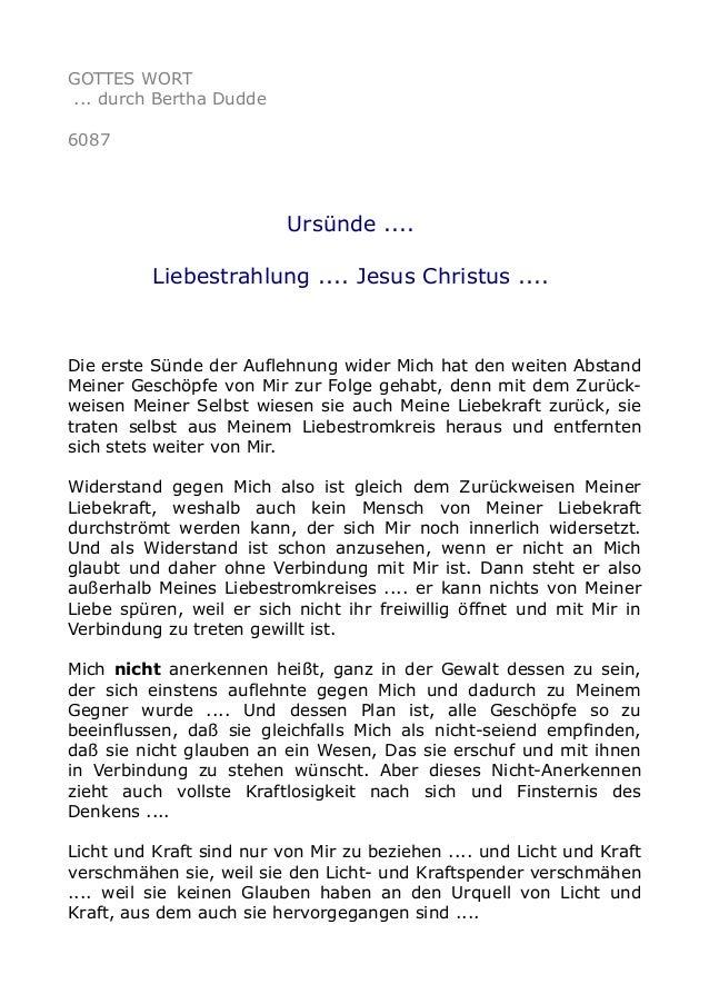 GOTTES WORT  ... durch Bertha Dudde  6087  Ursünde ....  Liebestrahlung .... Jesus Christus ....  Die erste Sünde der Aufl...