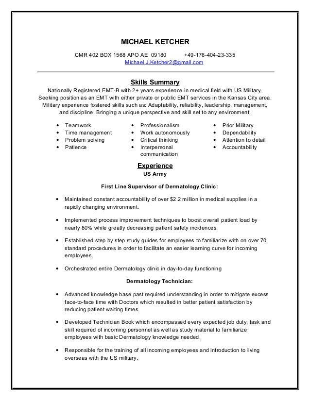 Delightful Emt Resume Emt Resume Samples Education And Certifications Template Emt  Paramedic Job Description For Resume Template