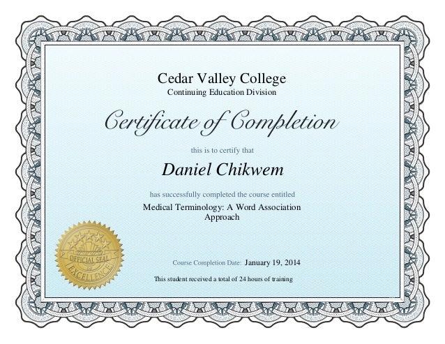 medical terminology certificate