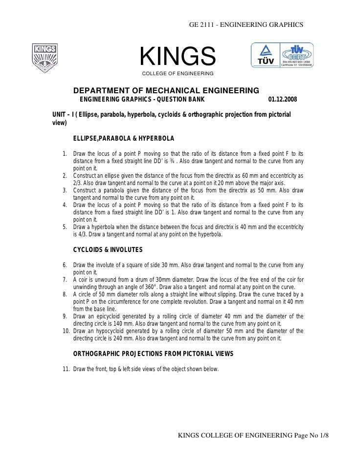 GE 2111 - ENGINEERING GRAPHICS                                    KINGS                                     COLLEGE OF ENG...