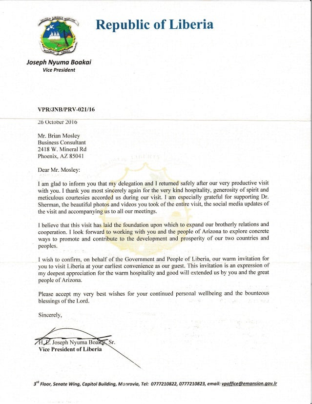 Liberia Vp Thank You Letter