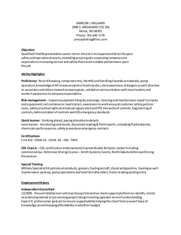 oil field resume