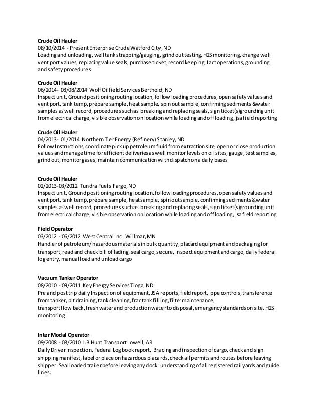 Oil refinery resume