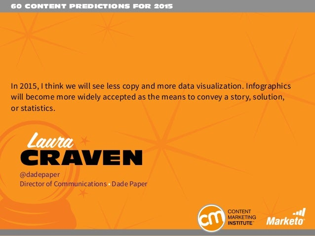 60 CONTENT PREDICTIONS FOR 2015 In 2015, I think we will see less copy and more data visualization. Infographics will beco...