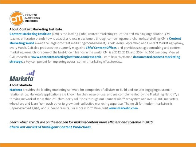 About Content Marketing Institute Content Marketing Institute (CMI) is the leading global content marketing education and ...
