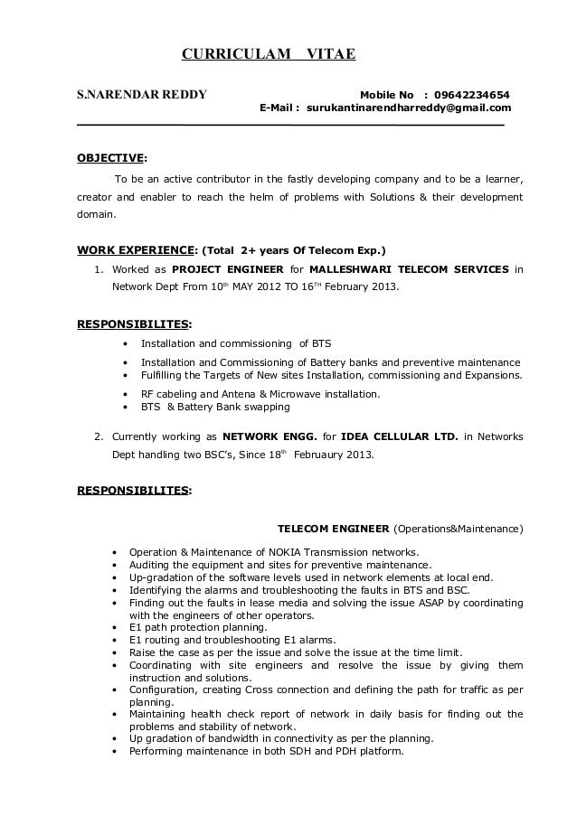 Surukanti Narendar Reddy Network Engineer Resume .
