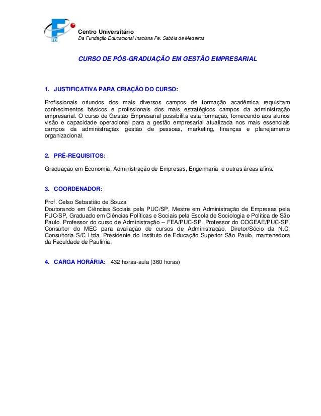 Centro Universitário Da Fundação Educacional Inaciana Pe. Sabóia de Medeiros CURSO DE PÓS-GRADUAÇÃO EM GESTÃO EMPRESARIAL ...