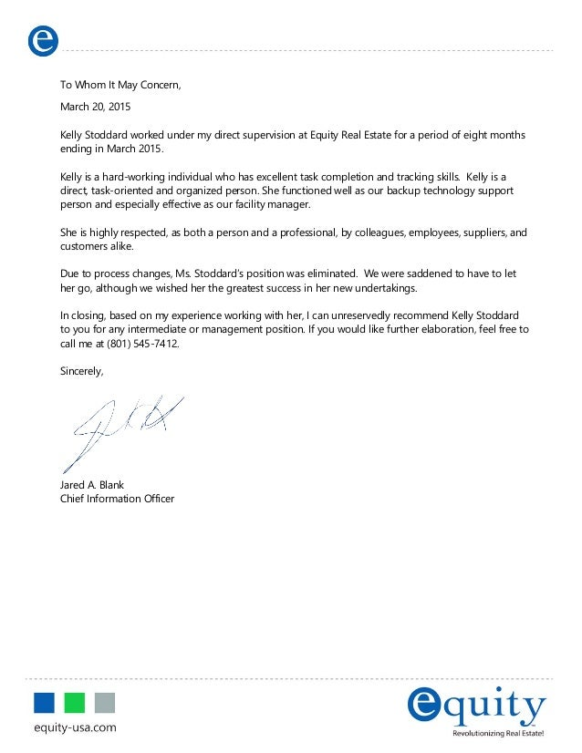 letters of recommendation former employee