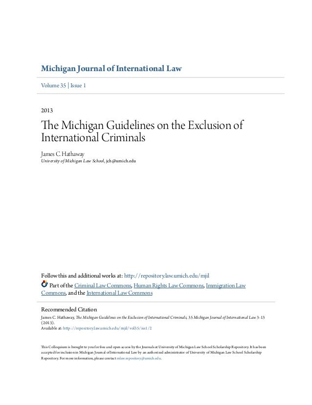 Michigan Journal of International Law  Volume 35 | Issue 1  2013  The Michigan Guidelines on the Exclusion of  Internation...