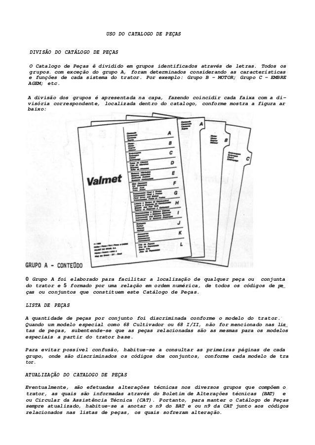USO DO CATALOGO DE PEÇAS DIVISÃO DO CATÁLOGO DE PEÇAS O Catalogo de Peças ê dividido em grupos identificados através de le...