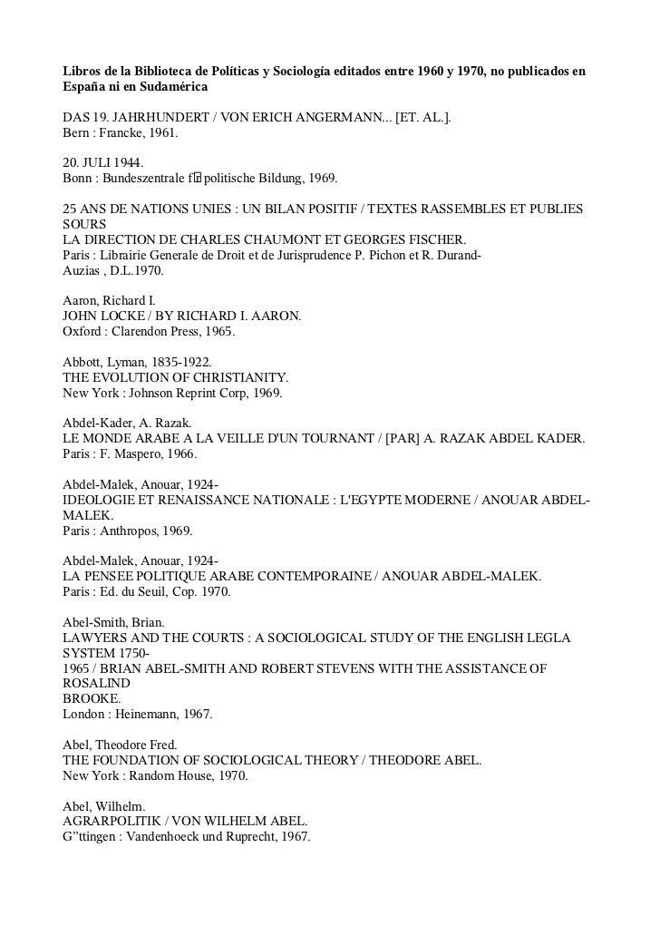 Libros de la Biblioteca de Políticas y Sociología editados entre 1960 y 1970, no publicados en España ni en Sudamérica  DA...