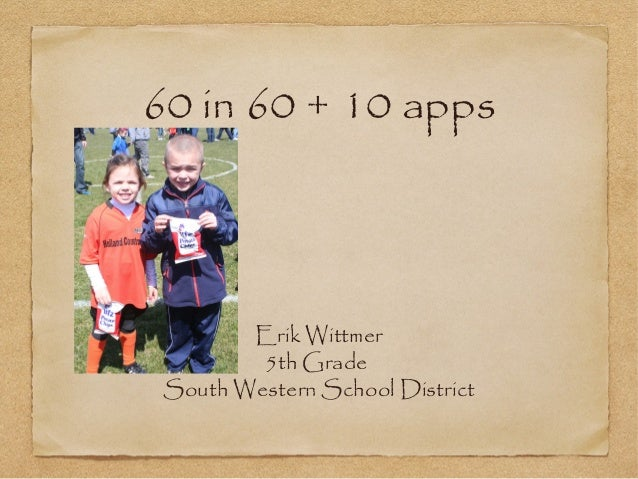60 in 60 + 10 appsErik Wittmer5th GradeSouth Western School District