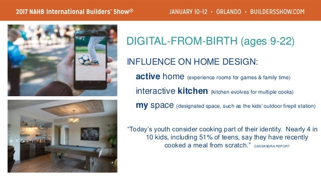 INFLUENCE ON HOME DESIGN: storage critical (lifestage is busy; organization ranks high) essential havens (private rooms an...