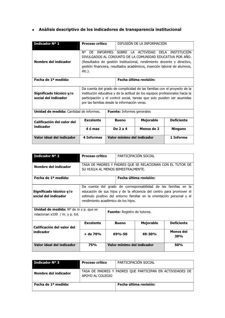Análisis descriptivo de los indicadores de transparencia institucionalIndicador Nº 1               Proceso crítico        ...