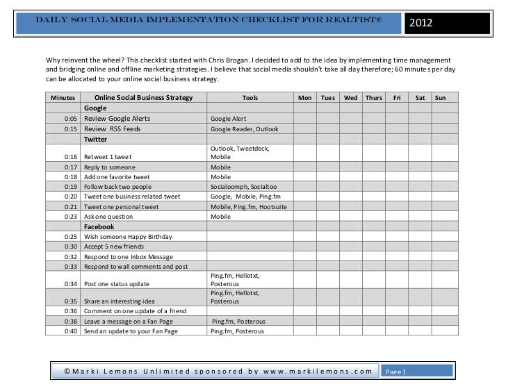 Daily Social Media Implementation checklist for REALTIST®                                                                 ...