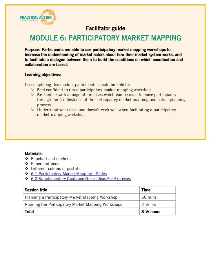 Facilitator guide  MODULE 6: PARTICIPATORY MARKET MAPPINGPurpose: Participants are able to use participatory market mappin...