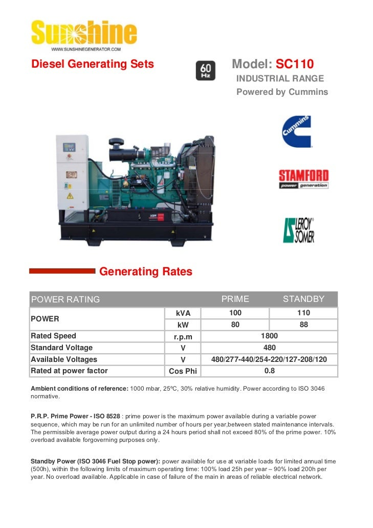 Diesel Generating Sets                                                   Model: SC110                                     ...