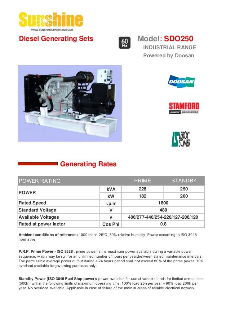 Diesel Generating Sets                                                 Model: SDO250                                      ...