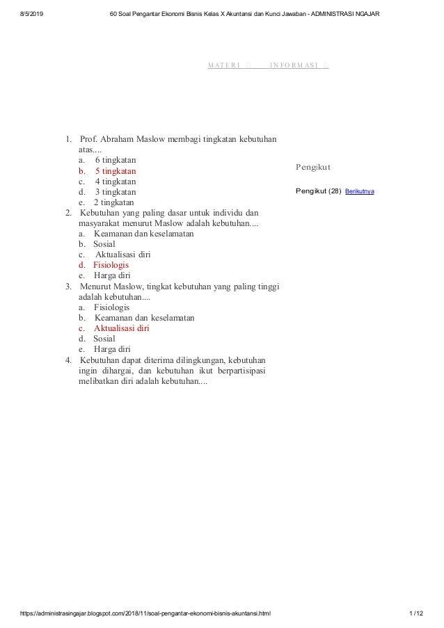 60 Soal Pengantar Ekonomi Bisnis Kelas X Akuntansi Dan Kunci Jawaban