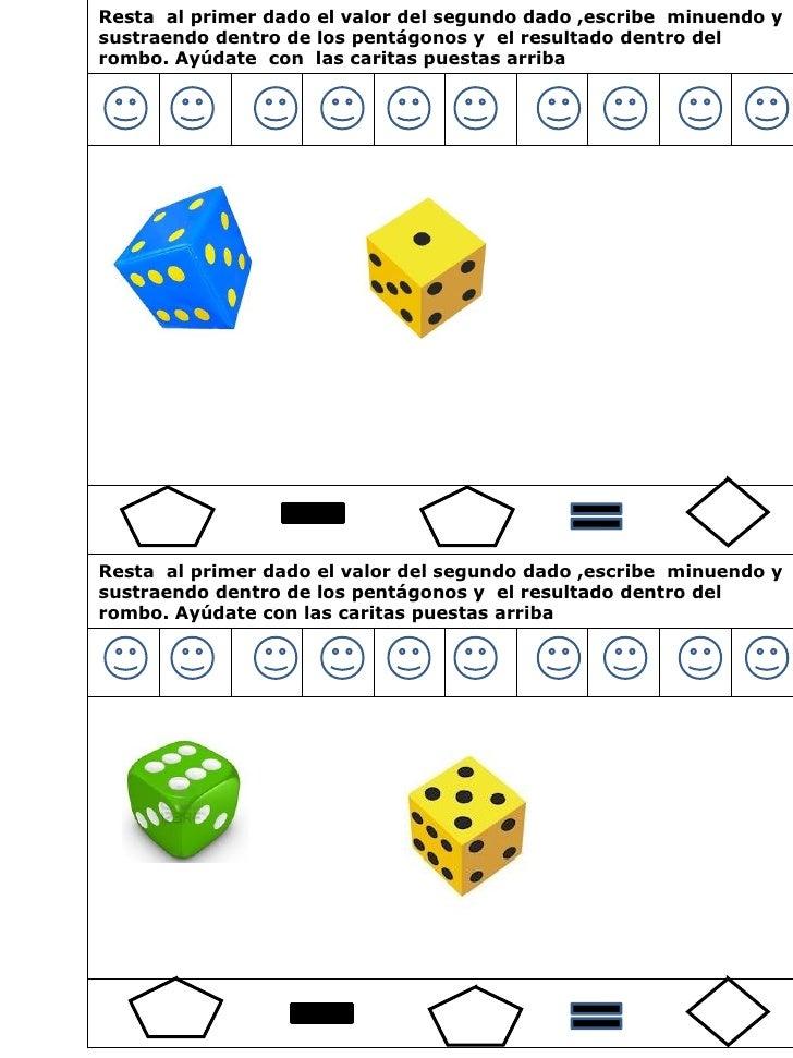 60 sustracciones ambito numerico hasta 10 con uso de dados Slide 3