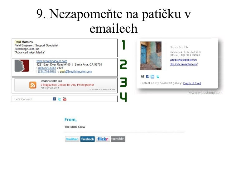 9. Nezapomeňte na patičku v emailech