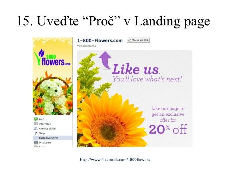 """15. Uveďte """" Proč """"  v Landing page http://www.facebook.com/1800flowers"""