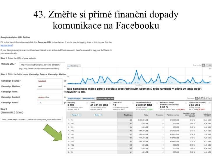 43. Změřte si přímé finanční dopady komunikace na Facebooku