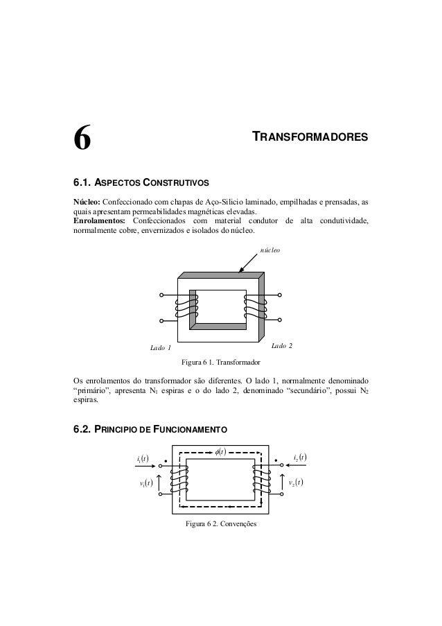 6 TRANSFORMADORES  6.1. ASPECTOS CONSTRUTIVOS  Núcleo: Confeccionado com chapas de Aço-Silicio laminado, empilhadas e pren...