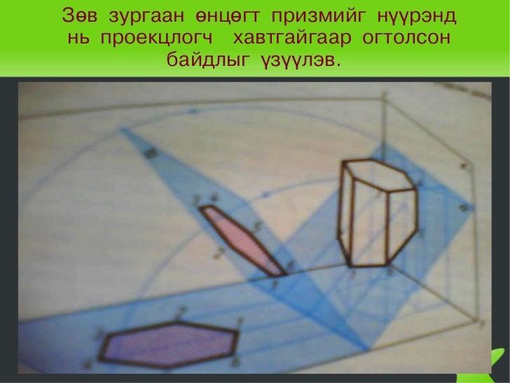 Зөв зургаан өнцөгт призмийг нүүрэнд    нь проекцлогч хавтгайгаар огтолсон             байдлыг үзүүлэв.