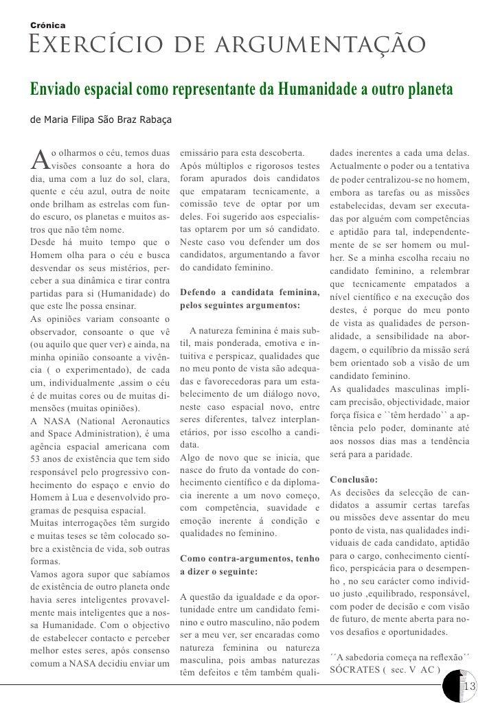 CrónicaExercício de argumentaçãoEnviado espacial como representante da Humanidade a outro planetade Maria Filipa São Braz ...
