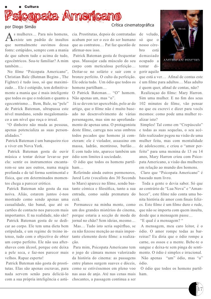 CulturaPsicopata Americano                                              Crítica cinematográficapor Diogo SimãoA     s mulh...