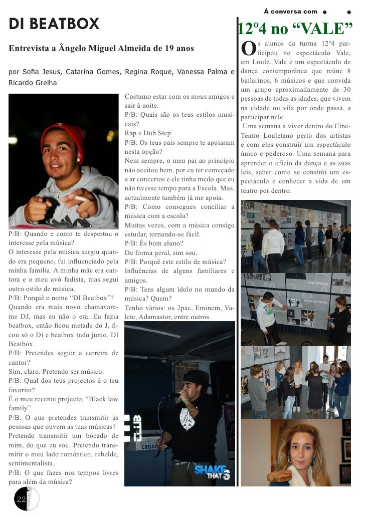 """À conversa comDI BEATBOX                                                                       12º4 no """"VALE""""Entrevista a ..."""