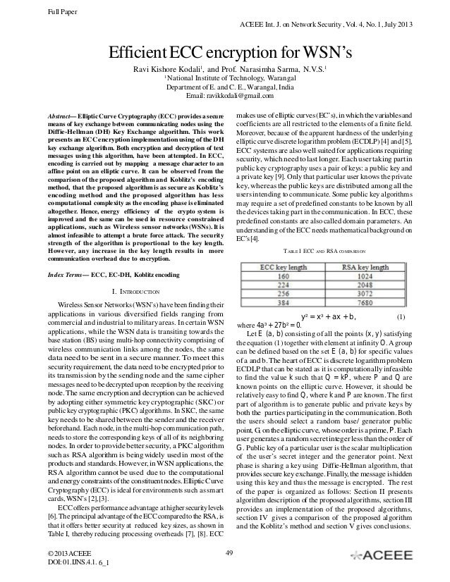 Full Paper ACEEE Int. J. on Network Security , Vol. 4, No. 1, July 2013  Efficient ECC encryption for WSN's Ravi Kishore K...