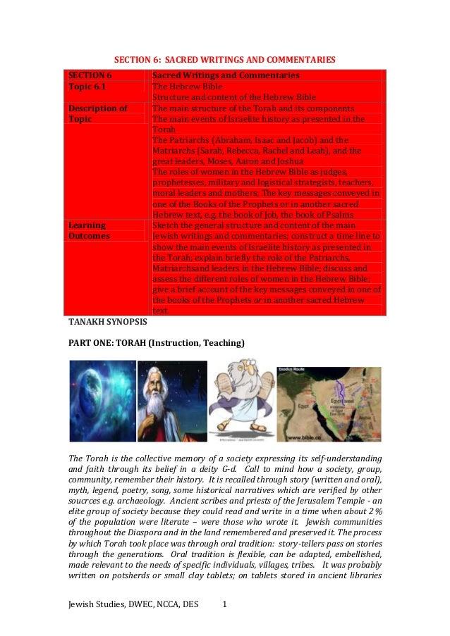 Jewish Studies, DWEC, NCCA, DES 1 SECTION 6: SACRED WRITINGS AND COMMENTARIES SECTION 6 Sacred Writings and Commentaries T...