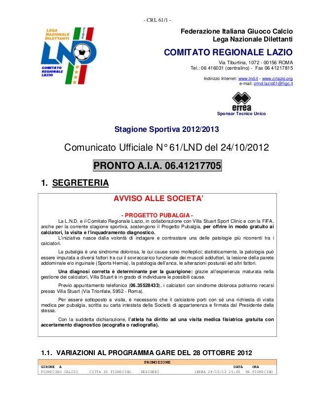 - CRL 61/1 -                                                                    Federazione Italiana Giuoco Calcio        ...