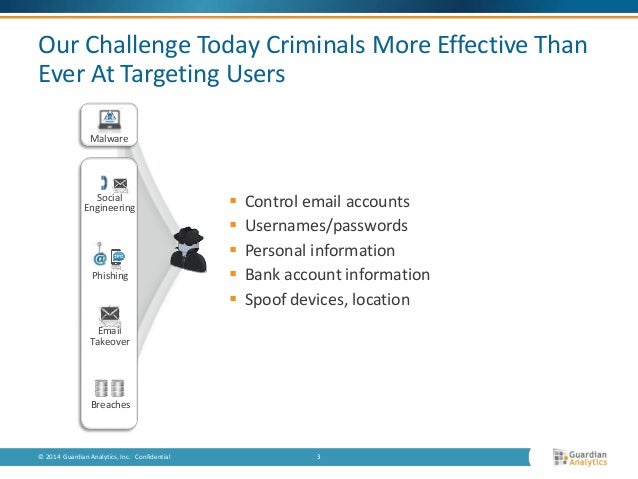 Our Challenge Today Criminals More Effective Than  Ever At Targeting Users   Control email accounts   Usernames/password...