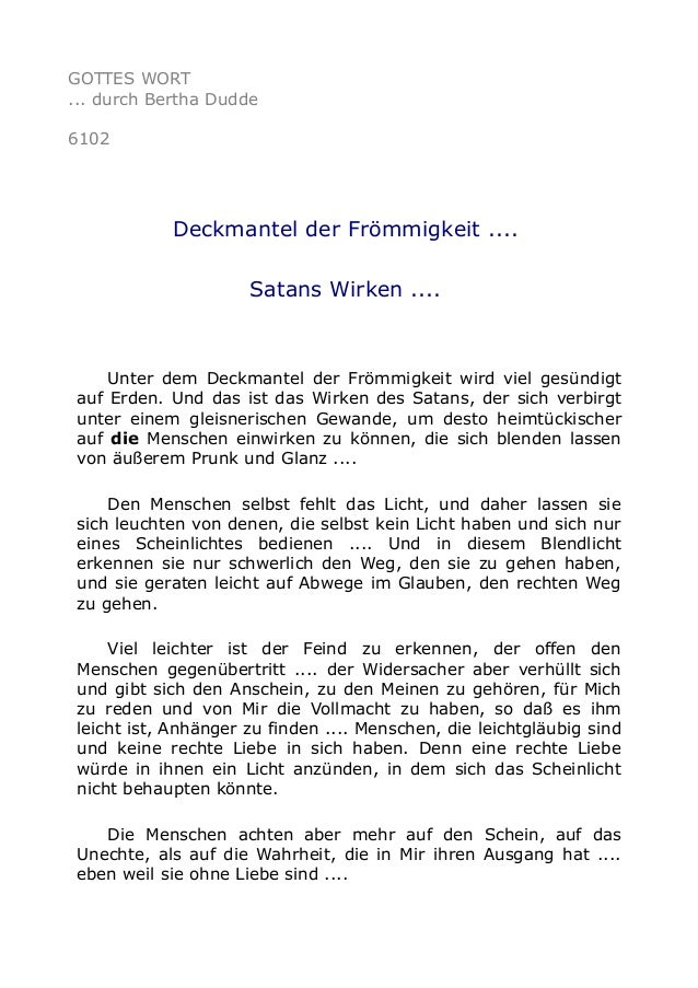 GOTTES WORT  ... durch Bertha Dudde  6102  Deckmantel der Frömmigkeit ....  Satans Wirken ....  Unter dem Deckmantel der F...