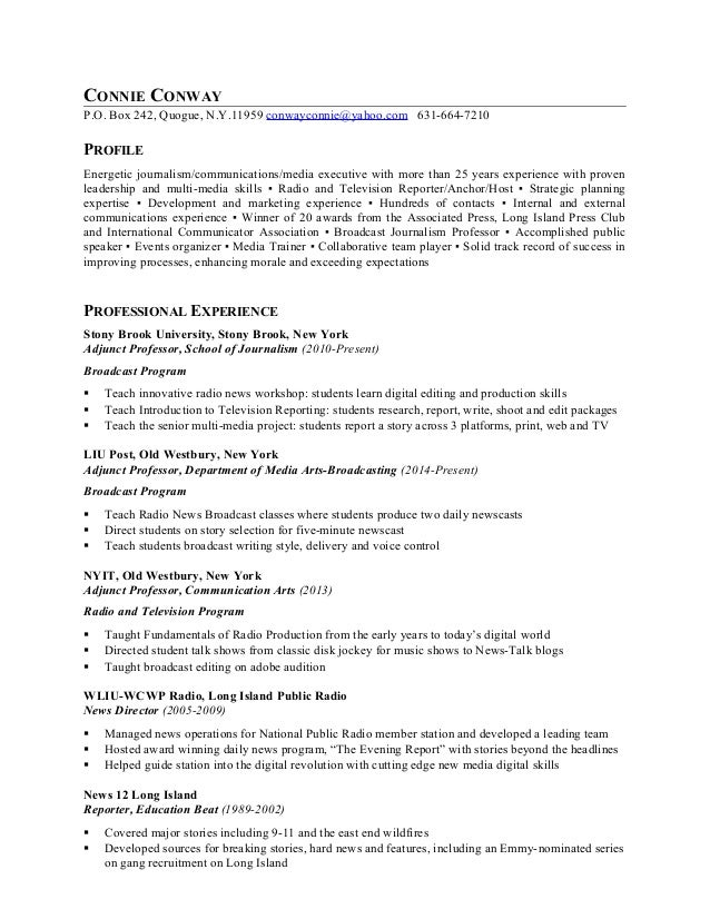 CONNIE CONWAY RESUME