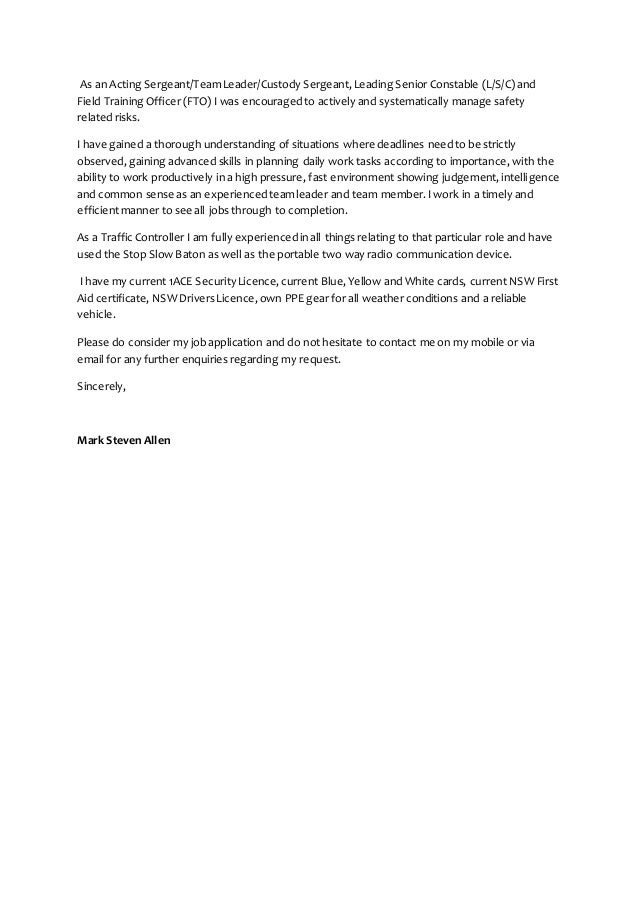 cover letter for security officer