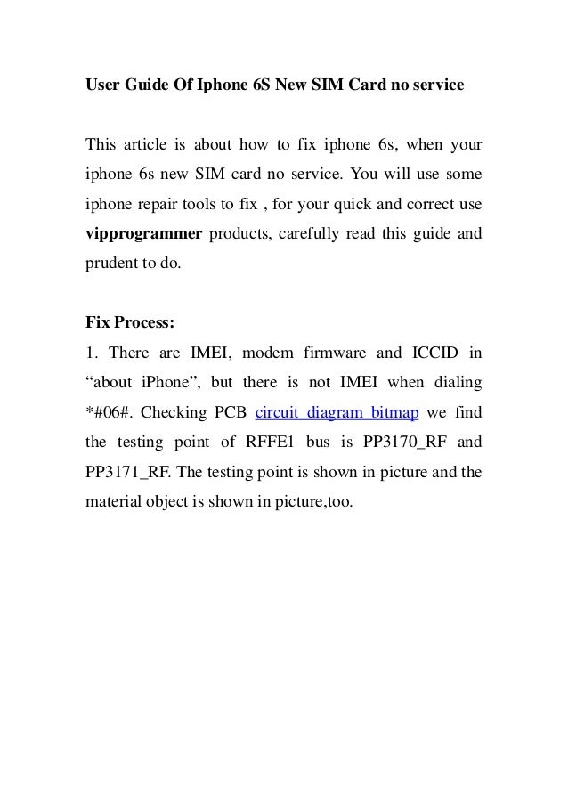 User Guide Of Iphone 6s New Sim Card No Service