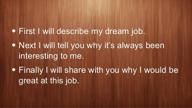 my dream job speech