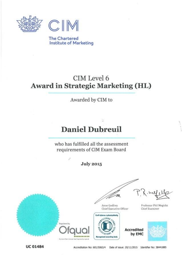 CIM_Strategic marketing award