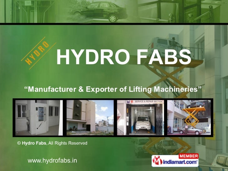 """"""" Manufacturer & Exporter of Lifting Machineries""""  HYDRO FABS"""